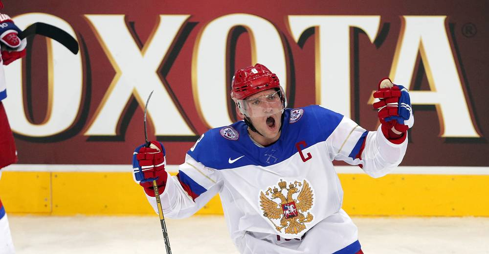 Alexander Ovechkin of Russia celebrates after scoring a goal