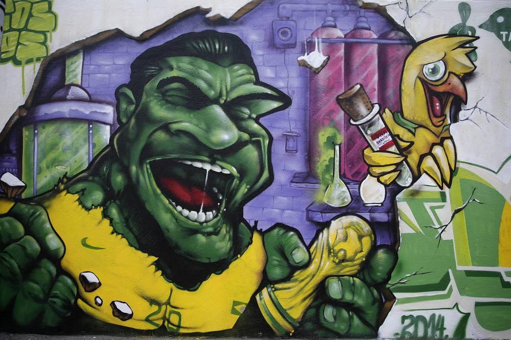A mural depicting Brazilian soccer player Hulk in Rio de Janeiro