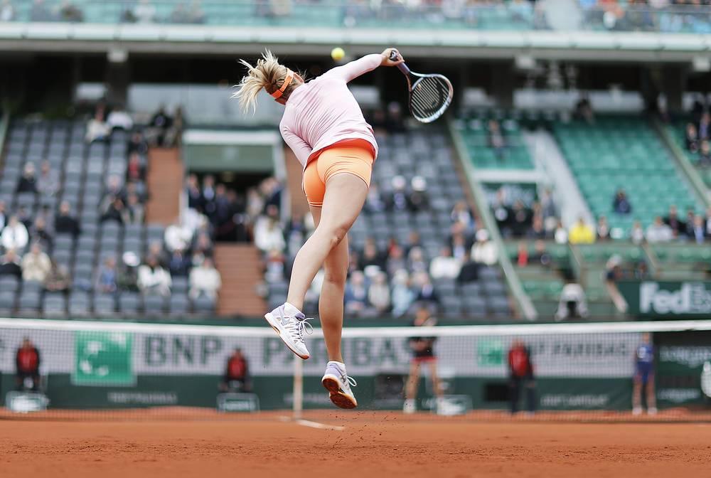 Tsvetlana Pironkova of Bulgaria challenged Russia's Sharapova in the second round, but lost 7-5, 6-2