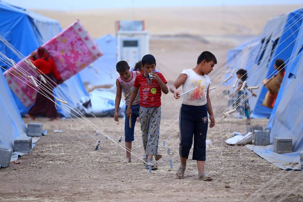 Children in a refugee camp near Erbil in northern Iraq