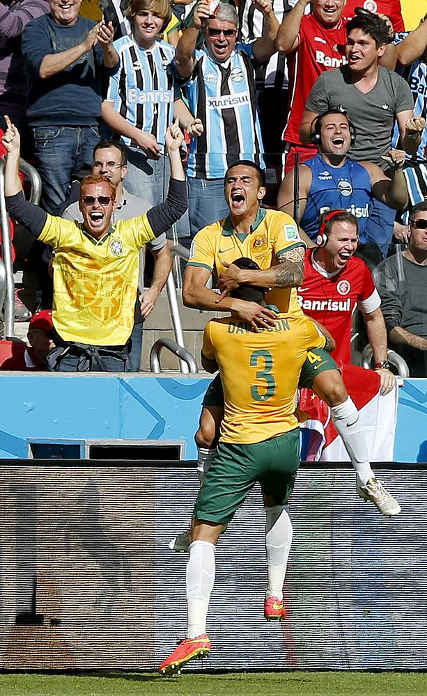Australia celebrates after scoring