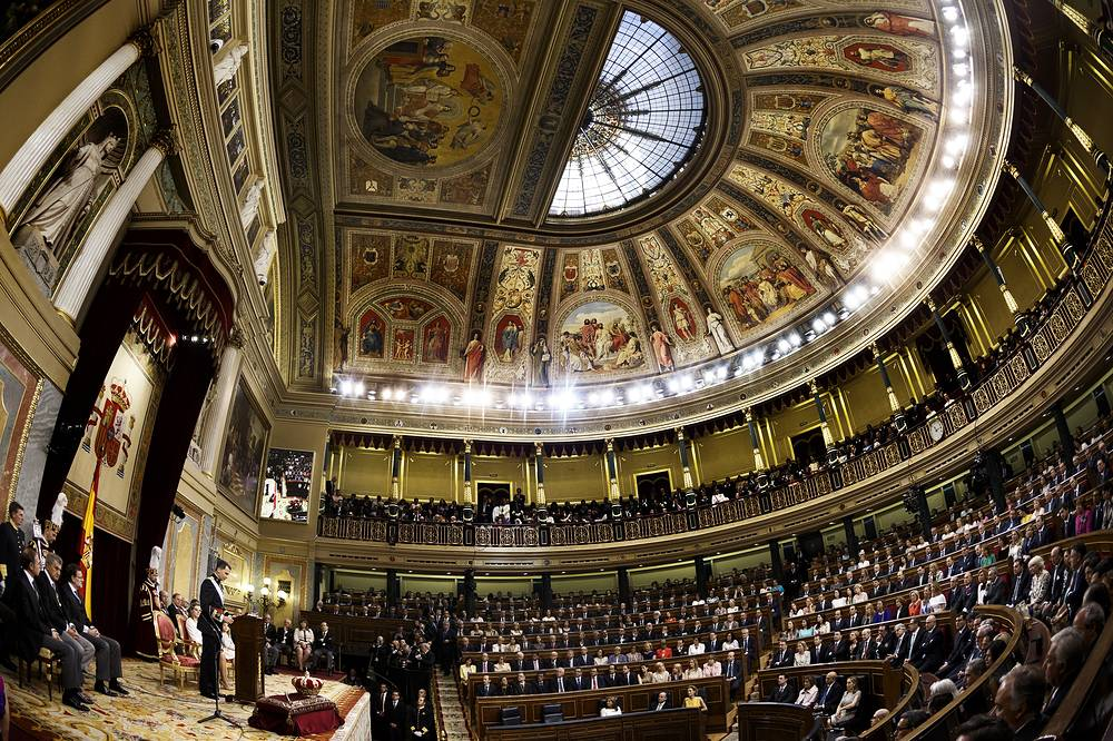 Spain's new King Felipe VI (L) adresses a speech after swearing allegiance to the Constitution