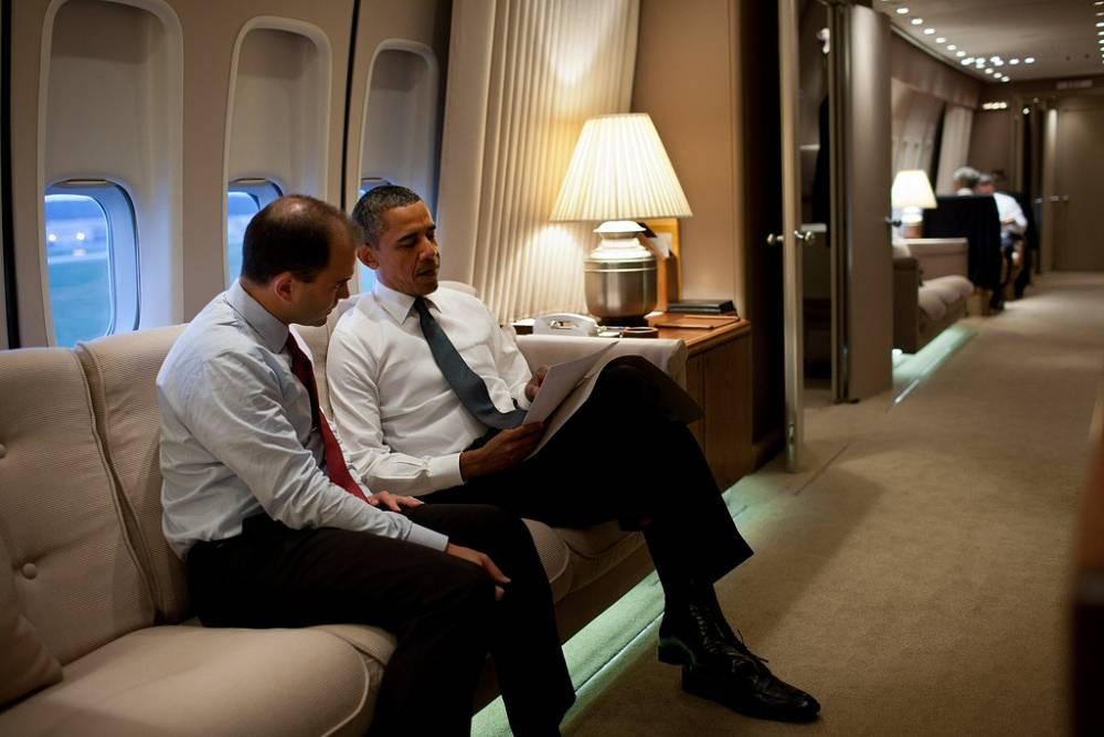 US President Barack Obama and  deputy national security adviser for strategic communication Ben Rhodes