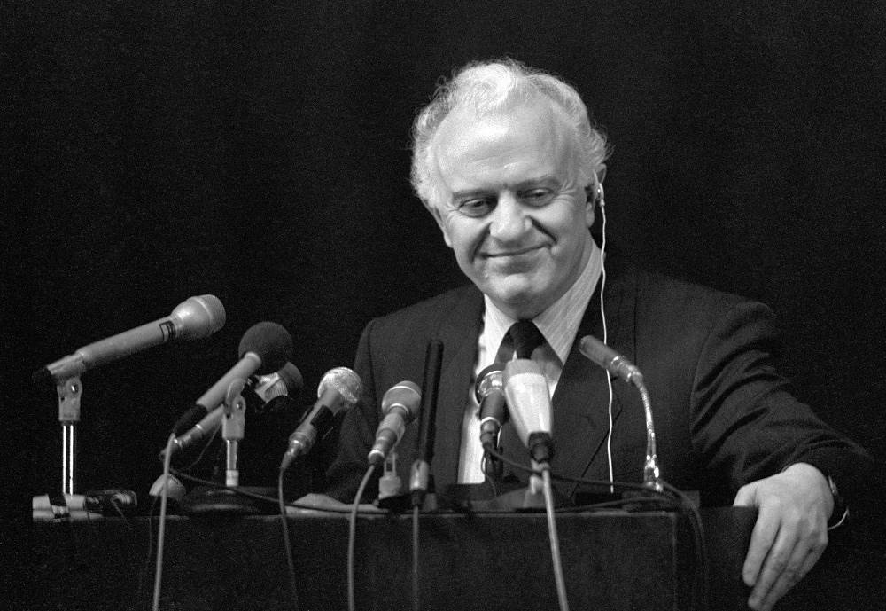 Eduard Shevardnadze at a conference in 1988