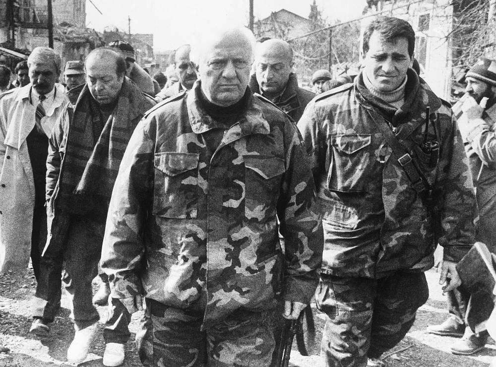 Eduard Shevardnadze during a visit to war-torn Sukhum in 1993