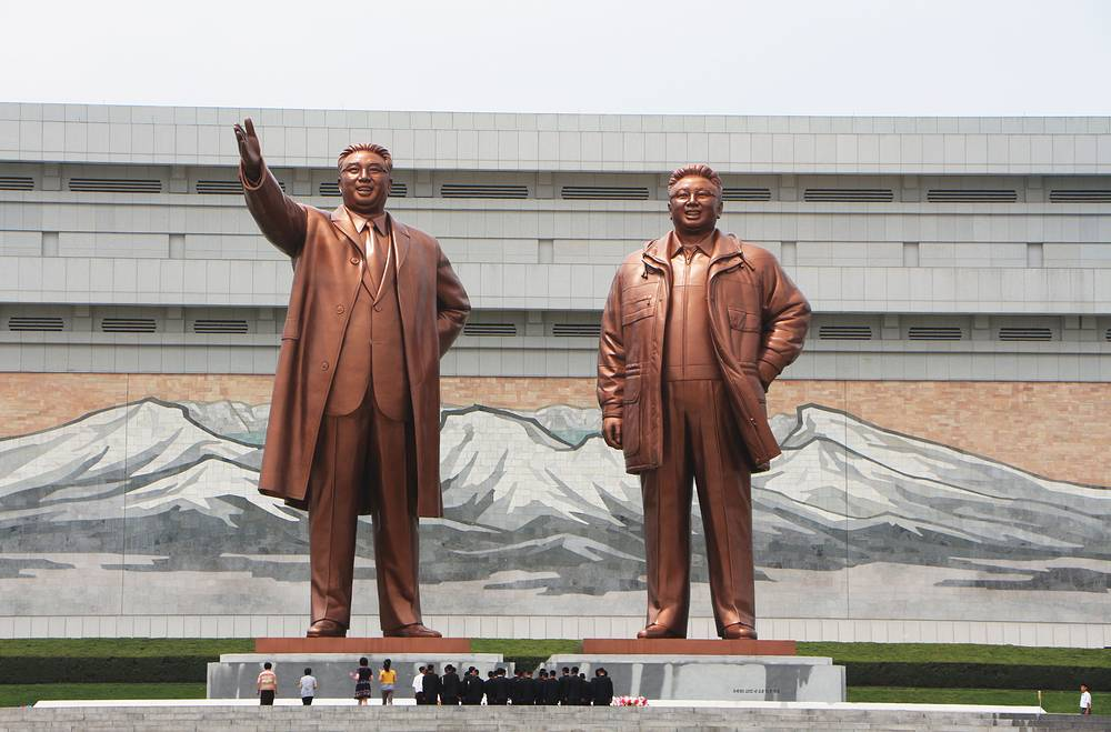 """Monuments of Kim Il Sung and Kim Jong-il. Kim Il Sung is designated in the North Korean constitution as the country's """"Eternal President"""""""