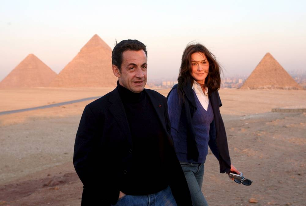 Nicolas Sarkozy with his then-girlfriend, Italian singer and ex-model Carla Bruni in Egypt