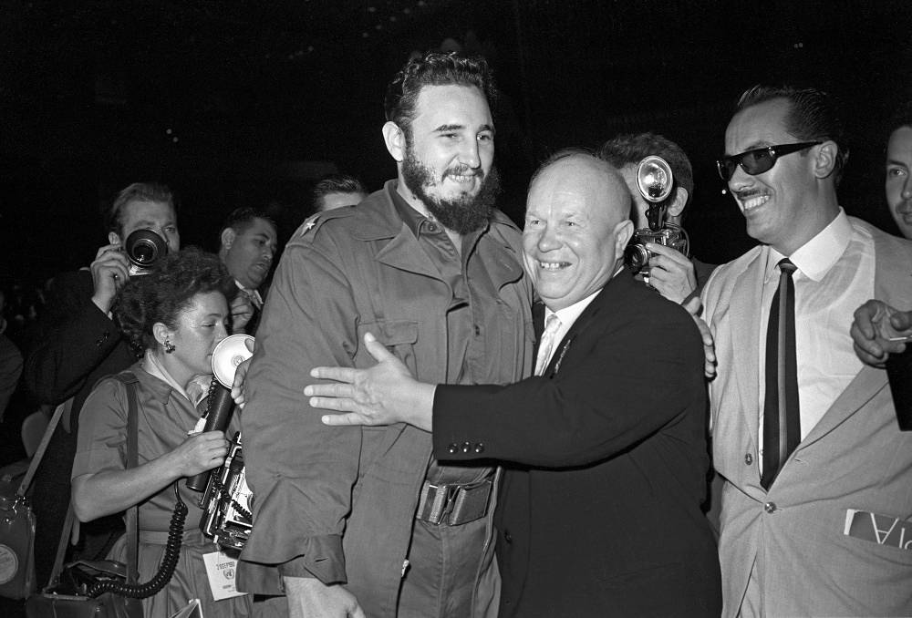 Soviet leader Nikita Khrushchev (right) and Fidel Castro meet at the XV session of the UN General Assembly in 1960