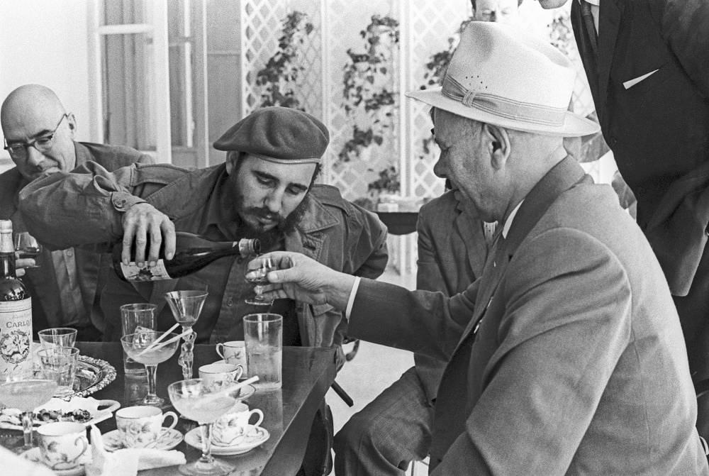 Fidel Castro and Soviet statesman Nikolai Podgorny in Havana, 1970
