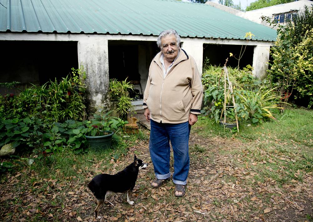Uruguay's President Jose Mujica and his dog, Manuela