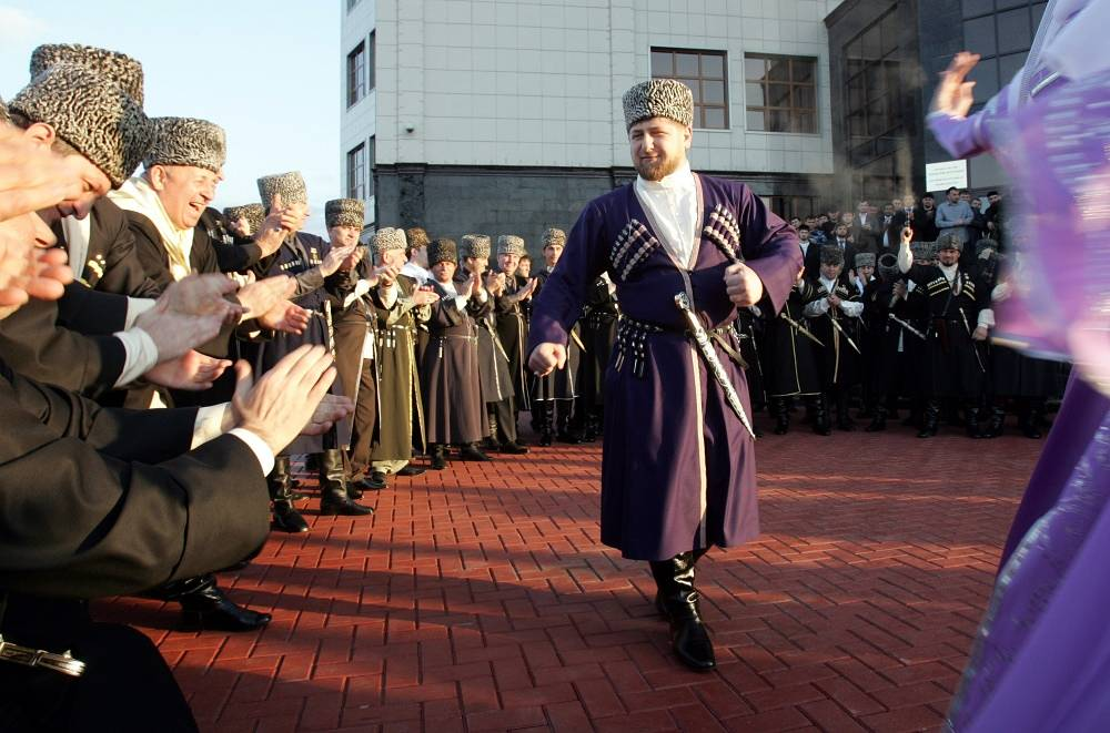Leader of Russia's Republic of chechnya wears a national costume in Grozny, 2011