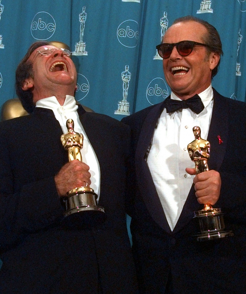 Jack Nicholson, right, and Robin Williams share a laugh as they pose with their Oscars in 1998. Williams won the award for his role in 'Good Will Hunting'
