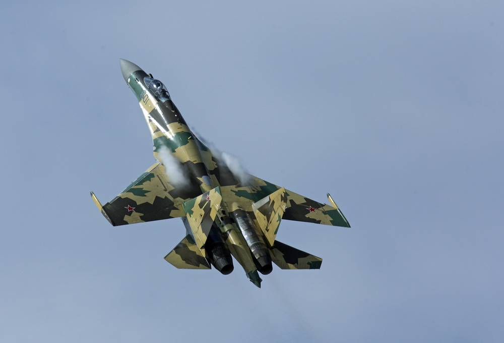 Sukhoi Su-35 is a 4++ generation single-seat multirole fighter. When the plane was shown at Le Bourge in 2013 it was called 'Show Stopper' as all work stopped when the Su-35 rocketed into the sky