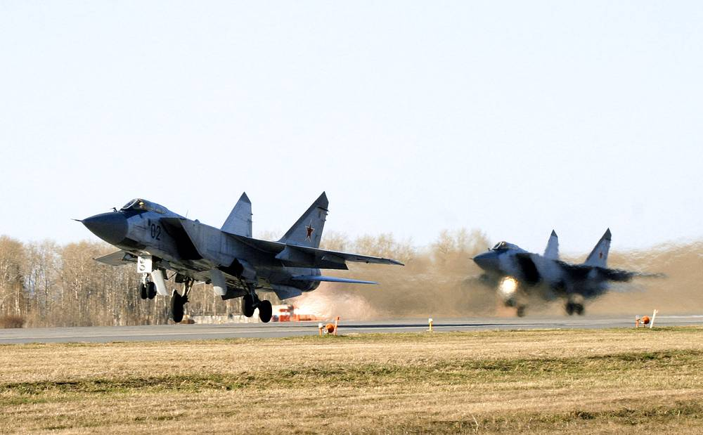 The Mikoyan MiG-31 is a supersonic interceptor aircraft has a maximum speed of 3000 km/h and can fly on the altitudes of up to 20 kilometers