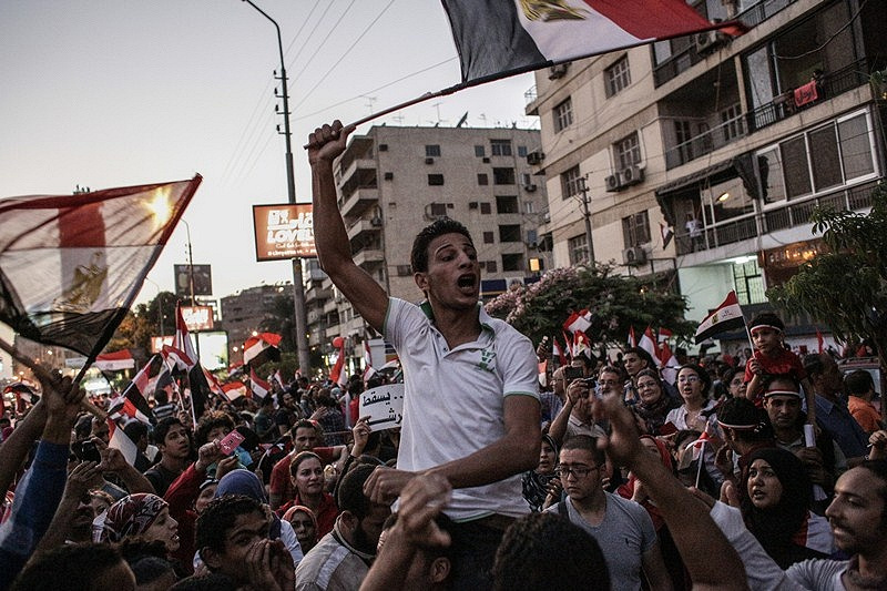 Protesters near the presidential palace in Cairo, Egypt, 2013
