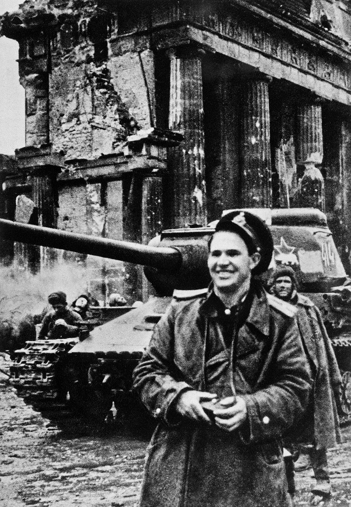 Yevgeny Khaldei was a photojournalist during WWII. He was the only Soviet press photographer to depict the Great Patriotic War (1941-1945) from its beginning to the end