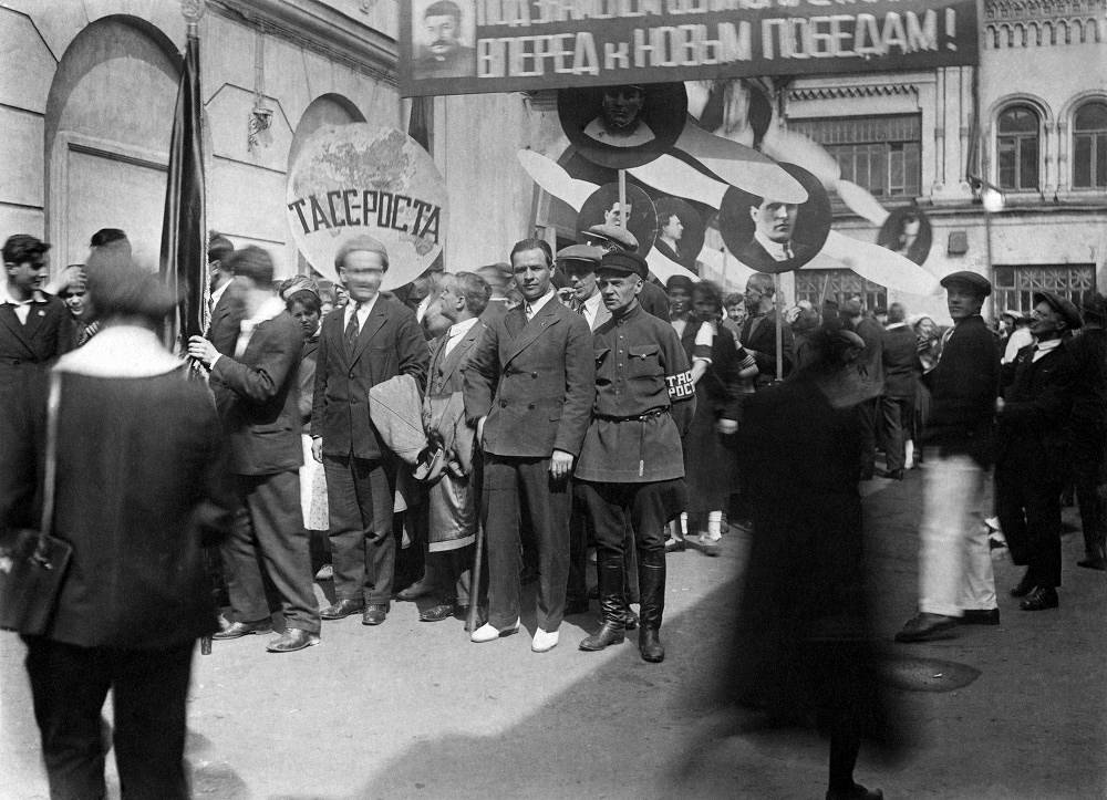 The news agency ran one of the biggest networks of correspondents in the world - 682 offices in the country and 94 bureaus abroad, and employed close to 2,000 journalists and photo correspondents. Photo: TASS employees attend a May Day demonstration in 1934