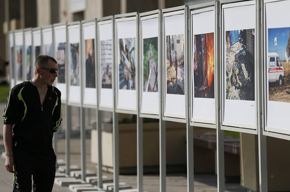 Street exhibition of Andrei Stenin's works in Moscow