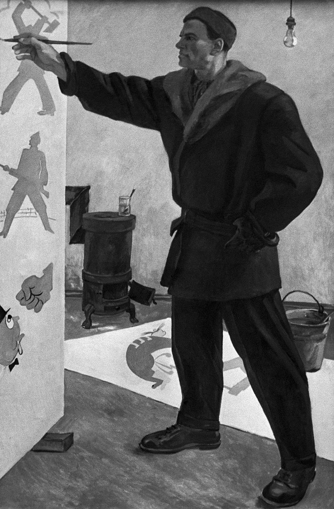 "Vladimir Mayakovsky is working on agitation posters of ROSTA Windows. Painting of Alexander Deineka ""V.V. Mayakovsky at ROSTA"", 1969"