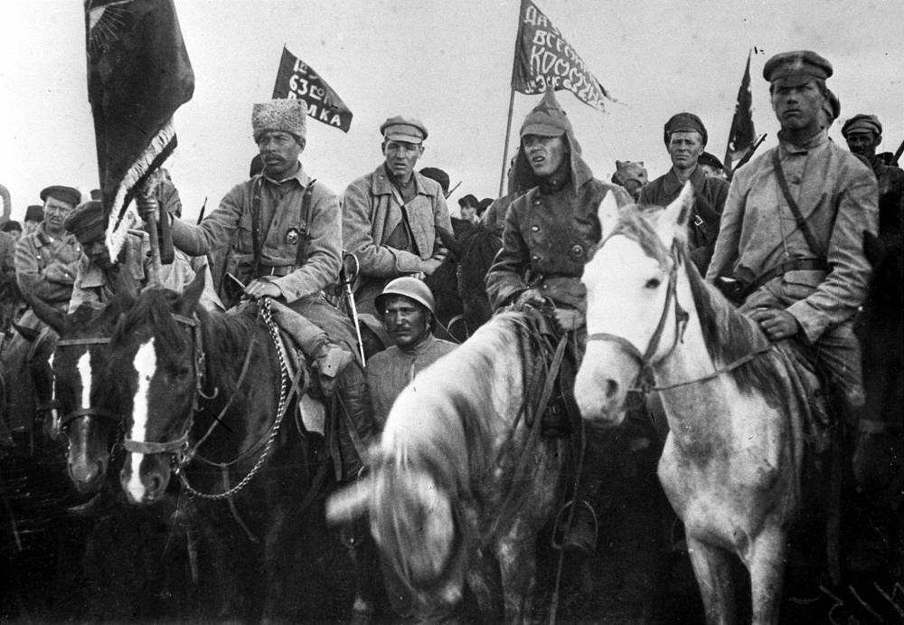Civil war. Fighters of the First cavalry army of Budyonny at a rally, 1920