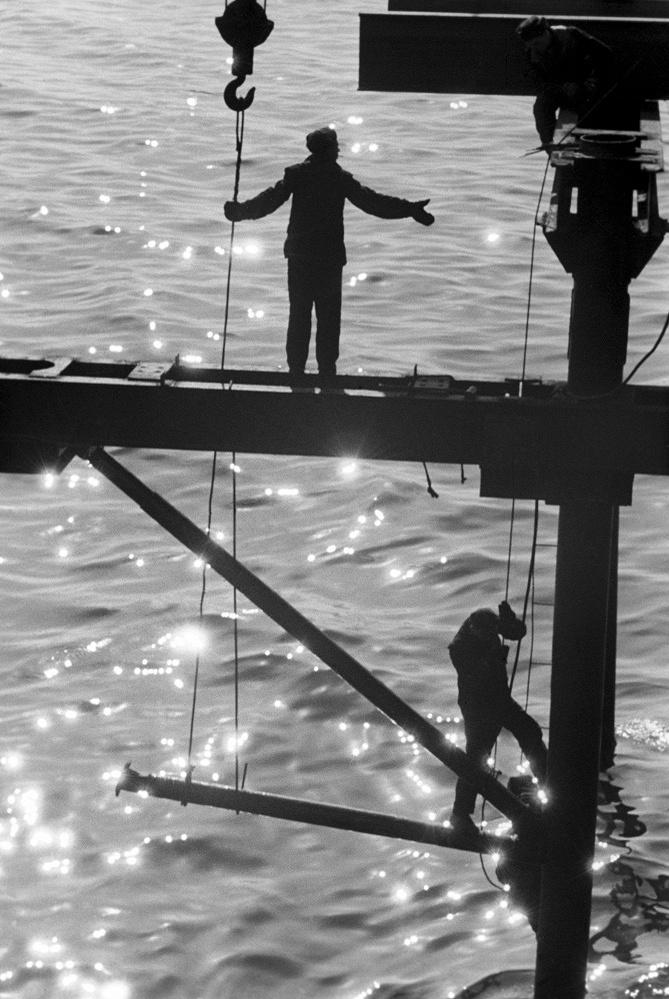 City of Gorky. Construction of a bridge over the Oka River, 1961