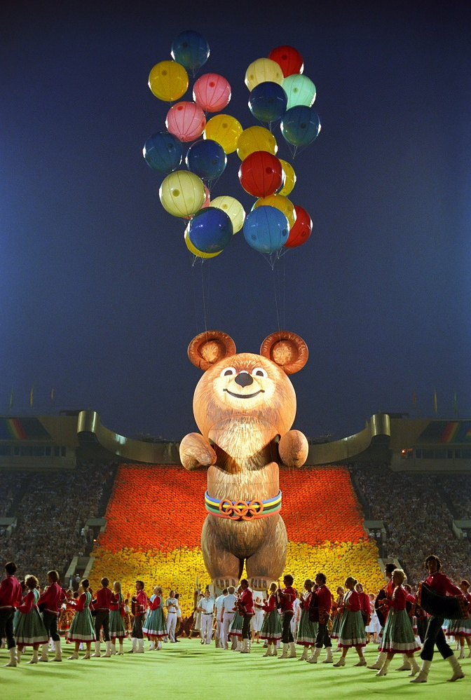 Festive closing ceremony of the XXII Summer Olympic Games at the Central stadium named after V. I. Lenin in Moscow, 1980