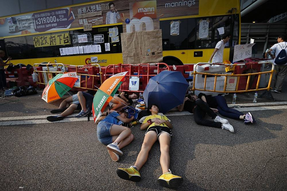 However, the protesters are set to remain on the Hong Kong streets