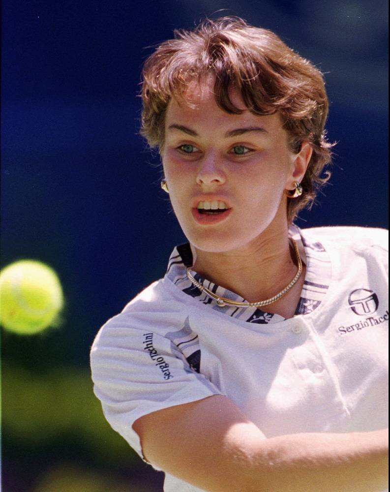 Famous tennis player Martina Hingis of Switzerland was 16-year-old when she won her first Grand Slam title, to become the youngest Grand Slam winner of the modern era
