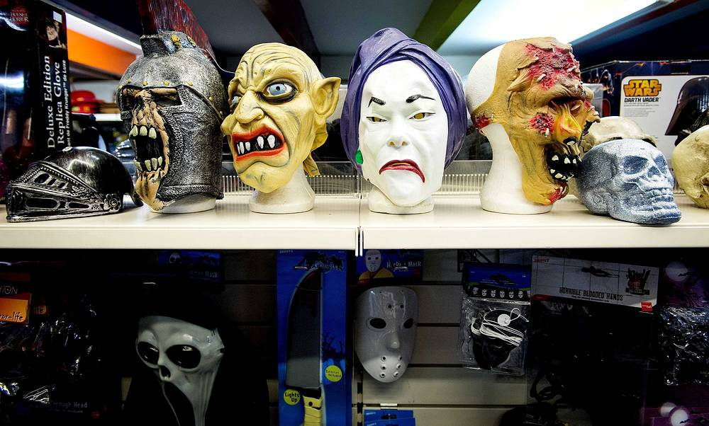 Photo: Halloween masks are on display in a shop in Amsterdam, The Netherlands, 30 October 2014