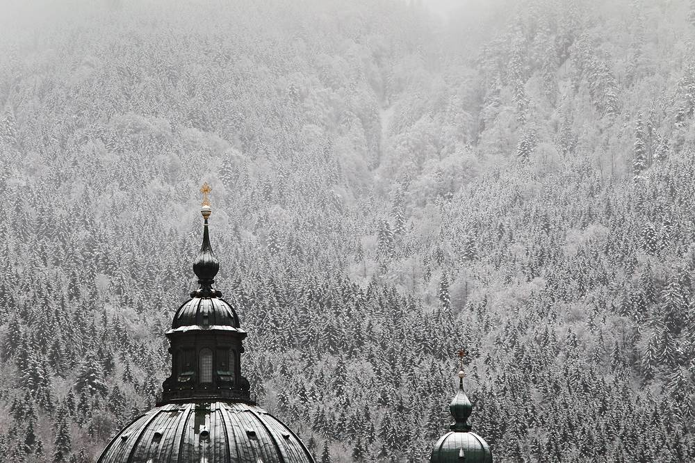 Photo: The towers of the Ettal Abbey in Ettal, Germany, 18 November 2014