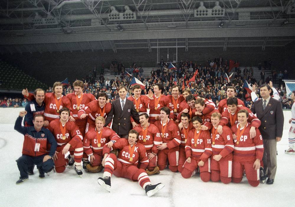 Soviet ice-hockey team won Olympic Games gold medals in 1984, Sarajevo, Bosnia and Herzegovina
