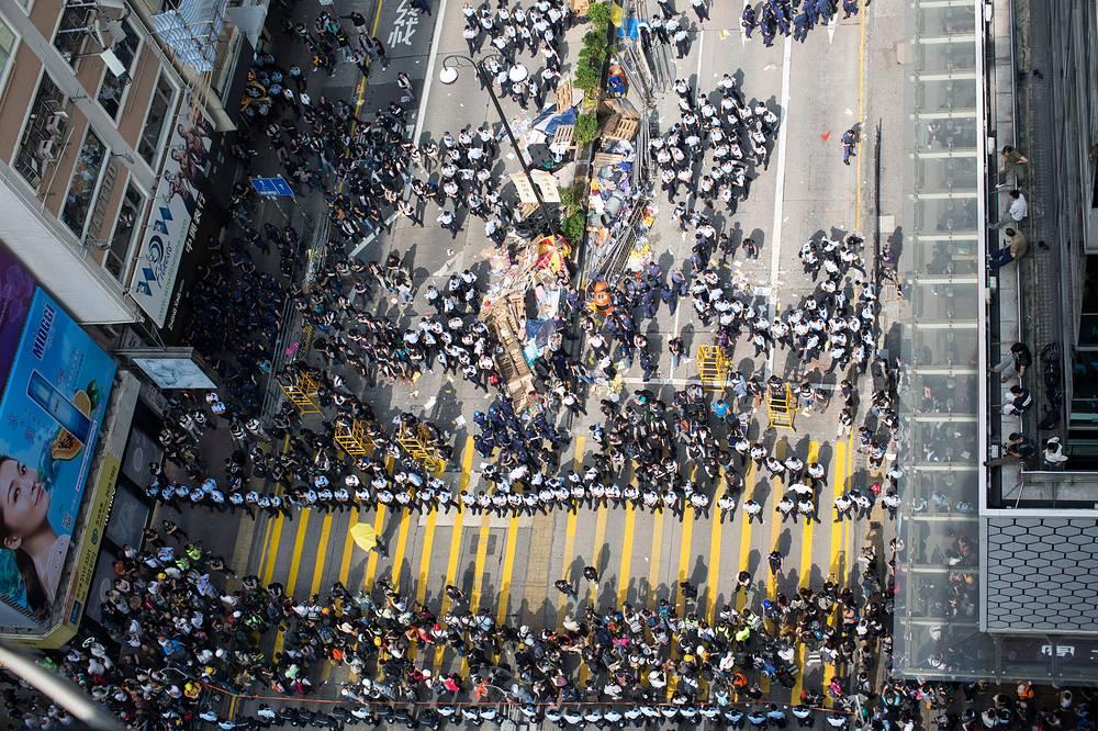 Demonstrators in Mongkok, Hong Kong