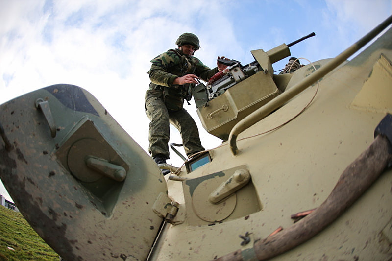 Photo: BTR-82 armoured personnel carrier involved in the combat practice of naval Infantry of the Baltic Sea coastal defense troops