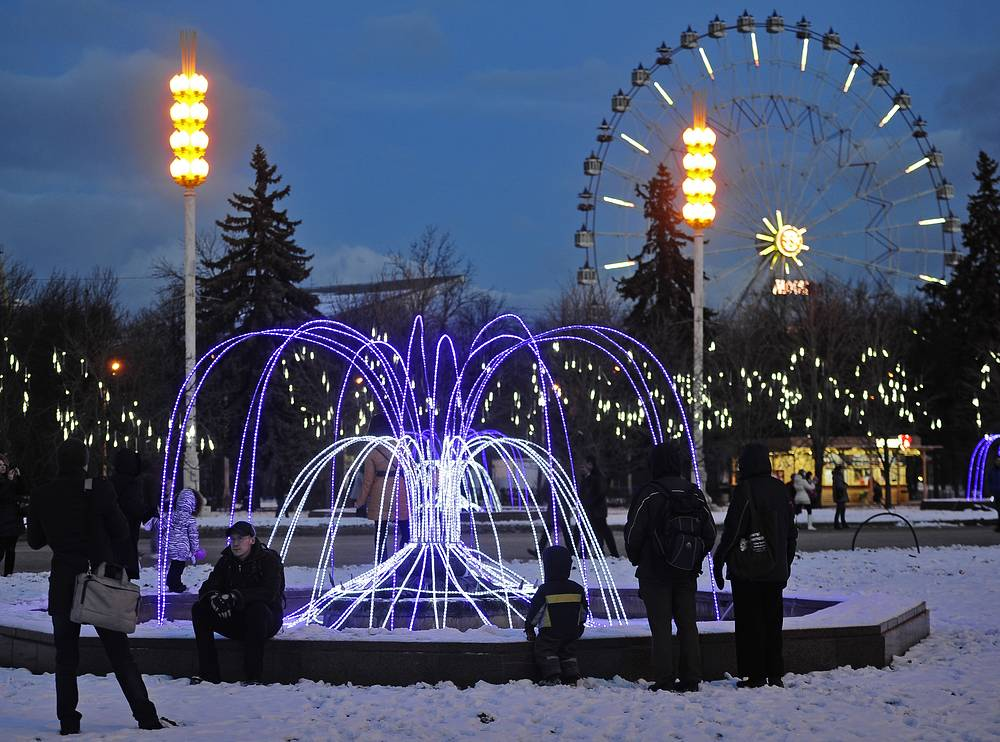 On 14 May 2014 the previous name VDNKh was restored. Photo: Magic Winter fair at the VDNKh exhibition center