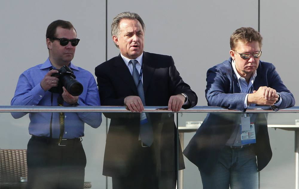 Russian Prime Minister Dmitry Medvedev, Sports Minister Vitaly Mutko and Gazprom CEO Alexey Miller (from left to right) watch the first Russian Formula 1 Grand Prix in Sochi