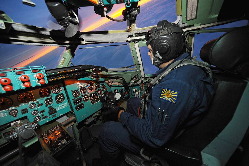 Photo: A Russian Air Force pilot during a training flight on a Tupolev Tu-95MS strategic bomber