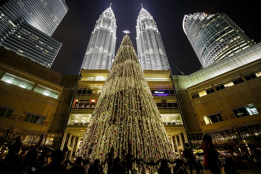 Christmas tree near Petronas Twin Towers in Kuala Lumpur, Malaysia