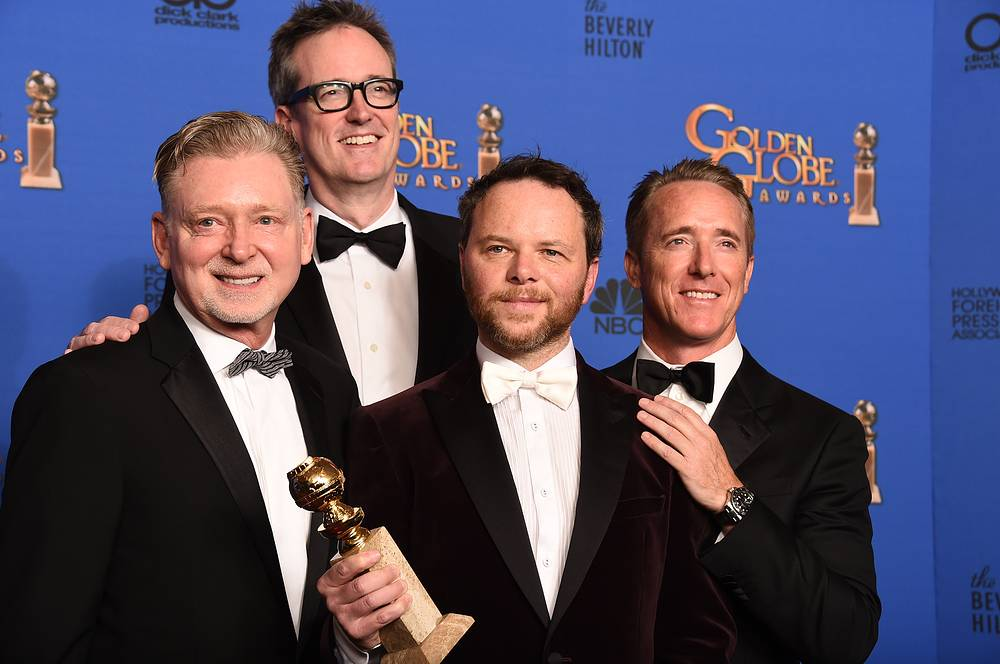 """Warren Littlefield, John Cameron, Noah Hawley and Geyer Kosinski with the award for Best miniseries or television film for """"Fargo"""""""