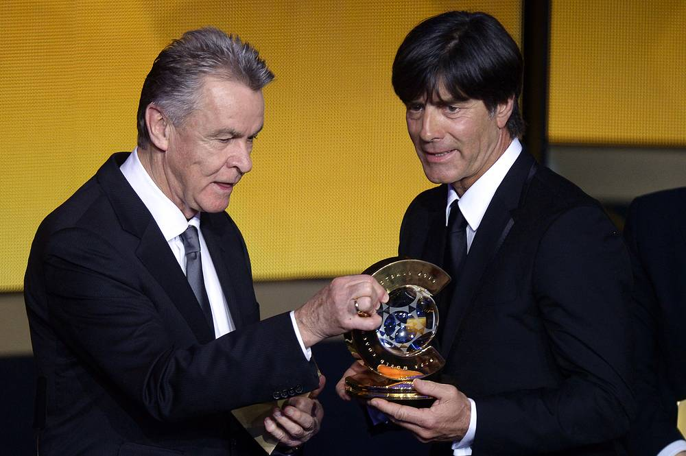 German national soccer team head coach Joachim Loew (right) was named FIFA World Coach of the Year 2014 for Men's Football award