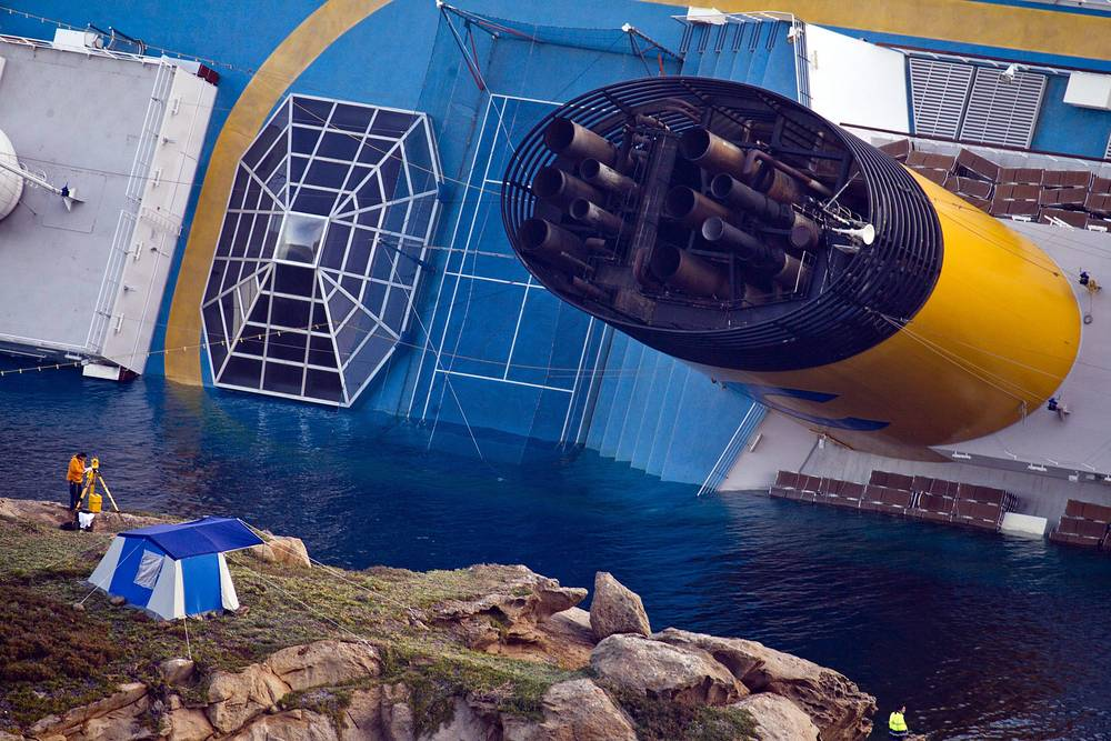During a six-hour evacuation, most passengers were brought ashore. Photo: Costa Concordia cruise ship