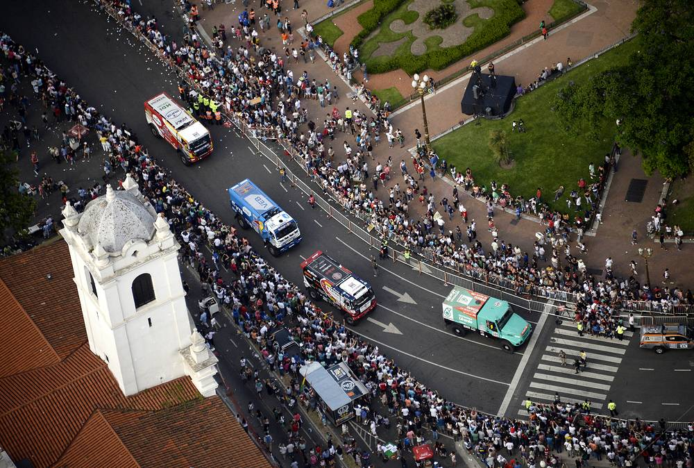 Symbolic start of the 2015 Dakar Rally in front of the Cabildo museum in Buenos Aires, Argentina
