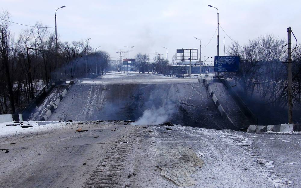 Photo: Damaged Putilovsky Bridge near the Donetsk airport