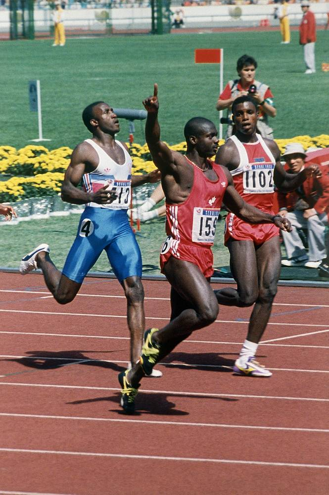 Ben Johnson of Canada who set 100 metres world records at the 1987 World Championships in Athletics and the 1988 Summer Olympics, was disqualified for doping, losing the Olympic title and both records