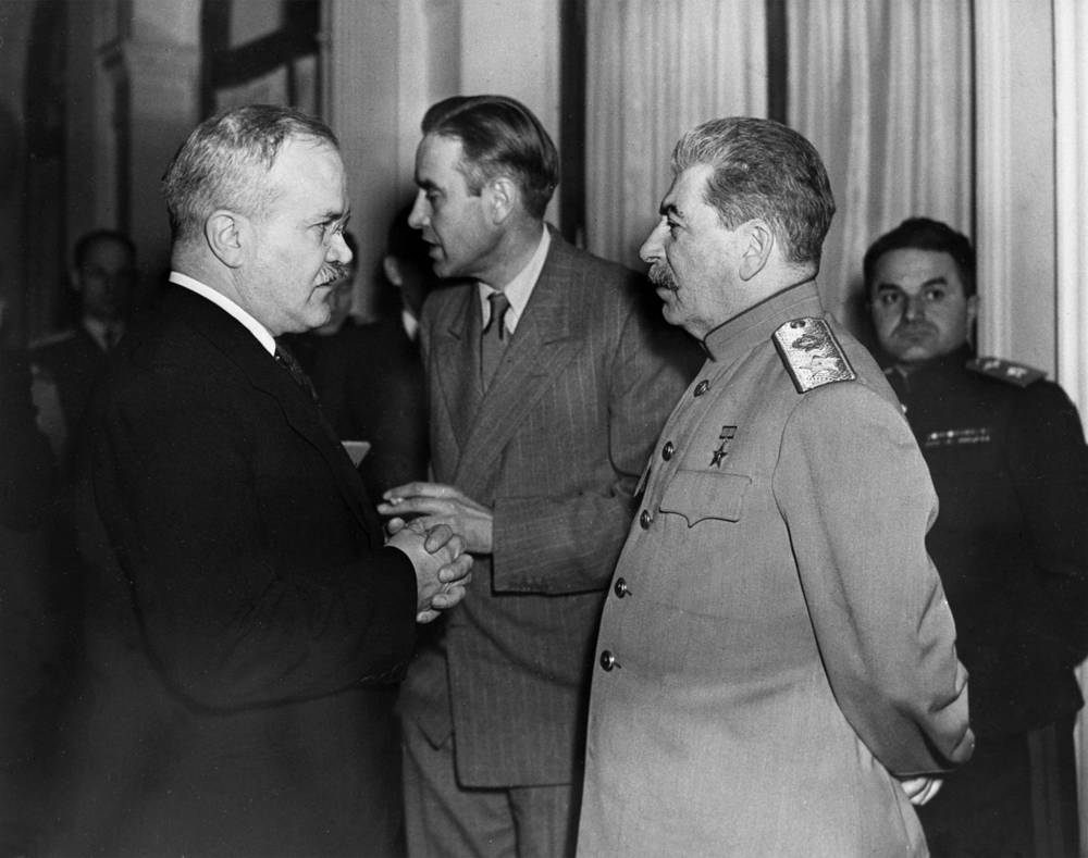 Soviet Minister of Foreign Affairs Vyacheslav Molotov, US Ambassador to the Soviet Union, Averell Harriman and Soviet Marshal Joseph Stalin during the Yalta Conference of the three allied countries, 1945