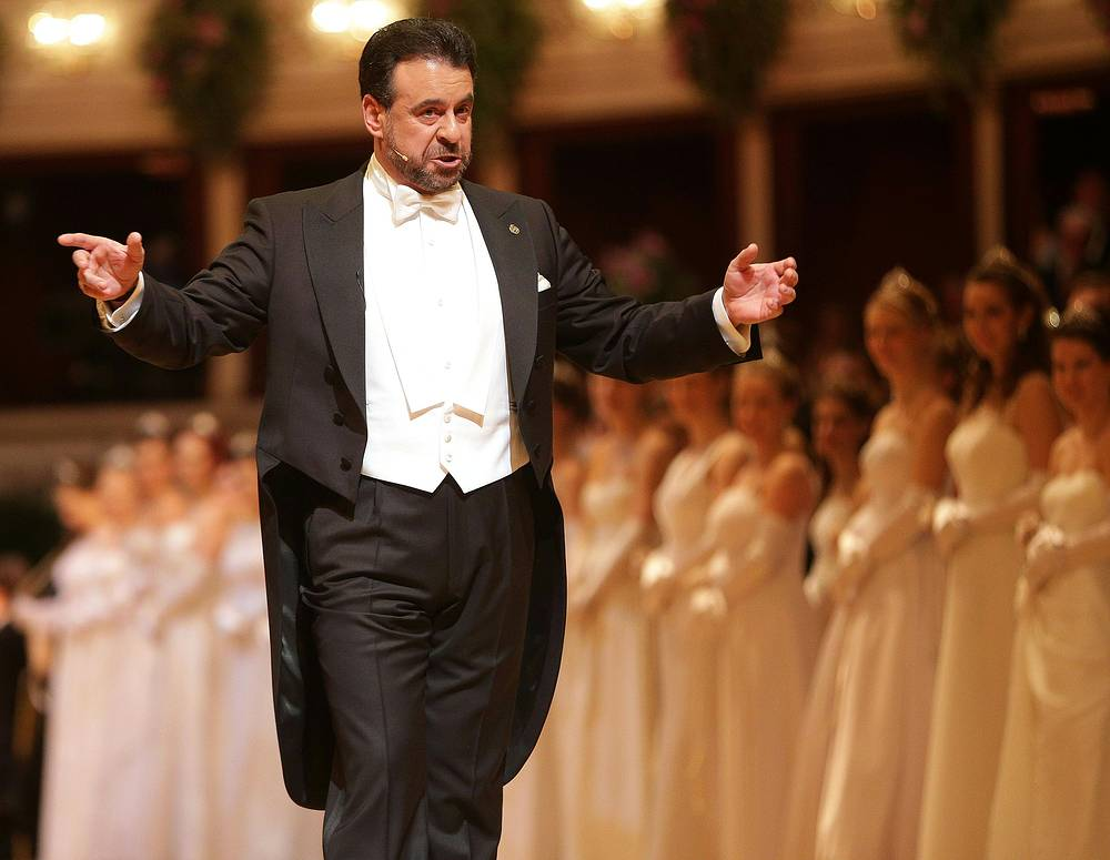 Spanish baritone Carlos Alvarez performing in the ballroom during the opening ceremony of the Vienna Opera Ball