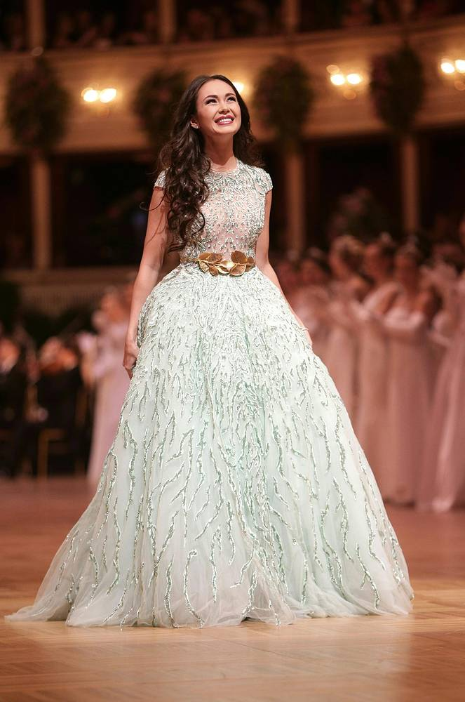 Russian soprano Aida Garifullina performing in the ballroom during the opening ceremony of the Vienna Opera Ball