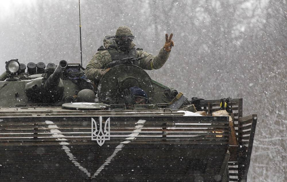 A Ukrainian soldier seen near Debaltseve
