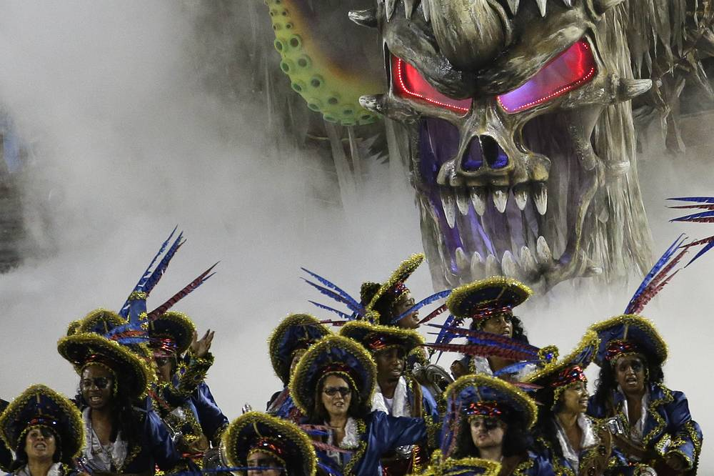 Performers from the Vila Isabel samba school in Rio de Janeiro