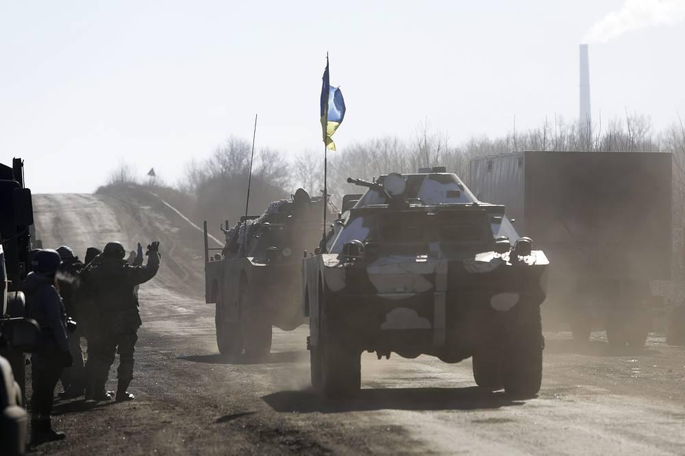 Ukrainian forces retreating from Debaltsevo, Feb. 18