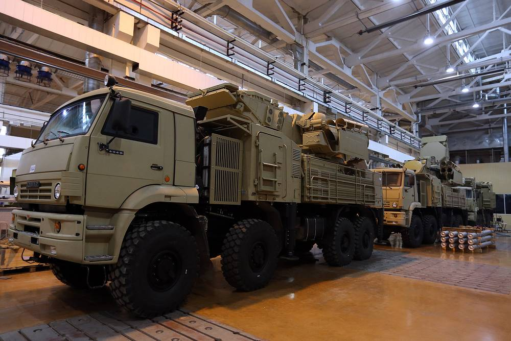 Pantsir-S system is designed for air defense of small military and administrative-industrial objects and areas against aircrafts, helicopters, cruise missiles and high-precision weapons, guided air bombs and unmanned aerial vehicles. The system consists of 12 surface-to-air guided missiles and two 30-millimetre automatic guns